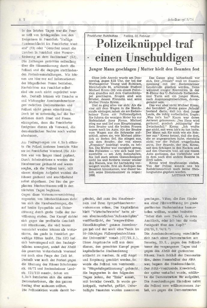 Schulkampf _ Organ der KSF, Göttingen, Nr. 3, 28.2.74, Seite 2