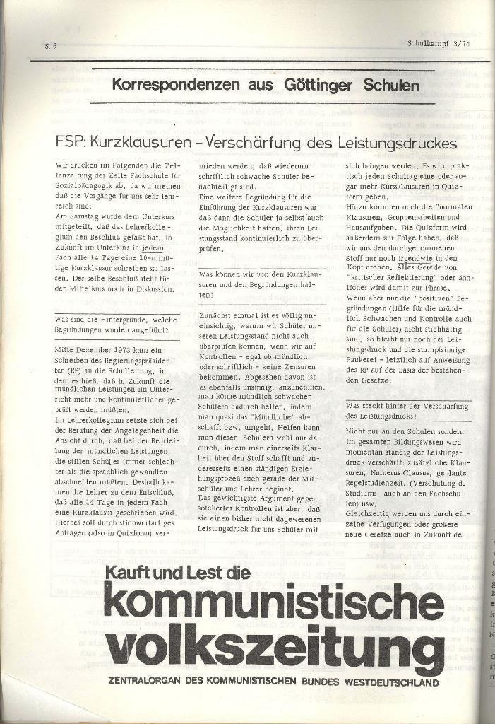 Schulkampf _ Organ der KSF, Göttingen, Nr. 3, 28.2.74, Seite 6