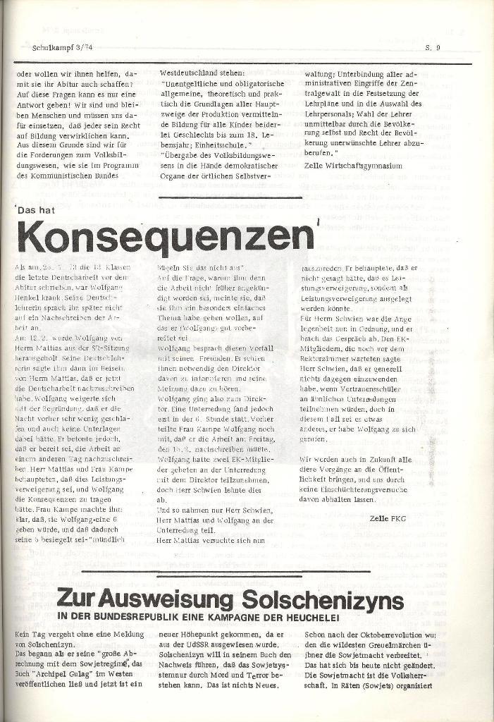 Schulkampf _ Organ der KSF, Göttingen, Nr. 3, 28.2.74, Seite 9