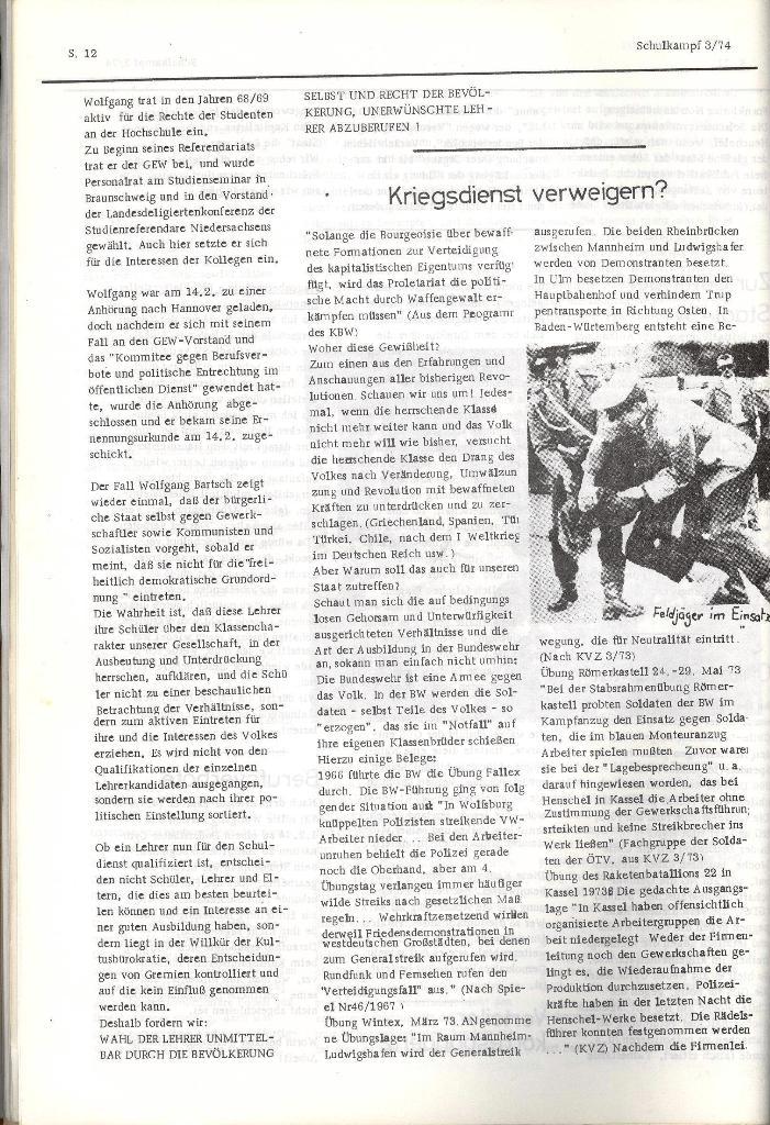 Schulkampf _ Organ der KSF, Göttingen, Nr. 3, 28.2.74, Seite 12