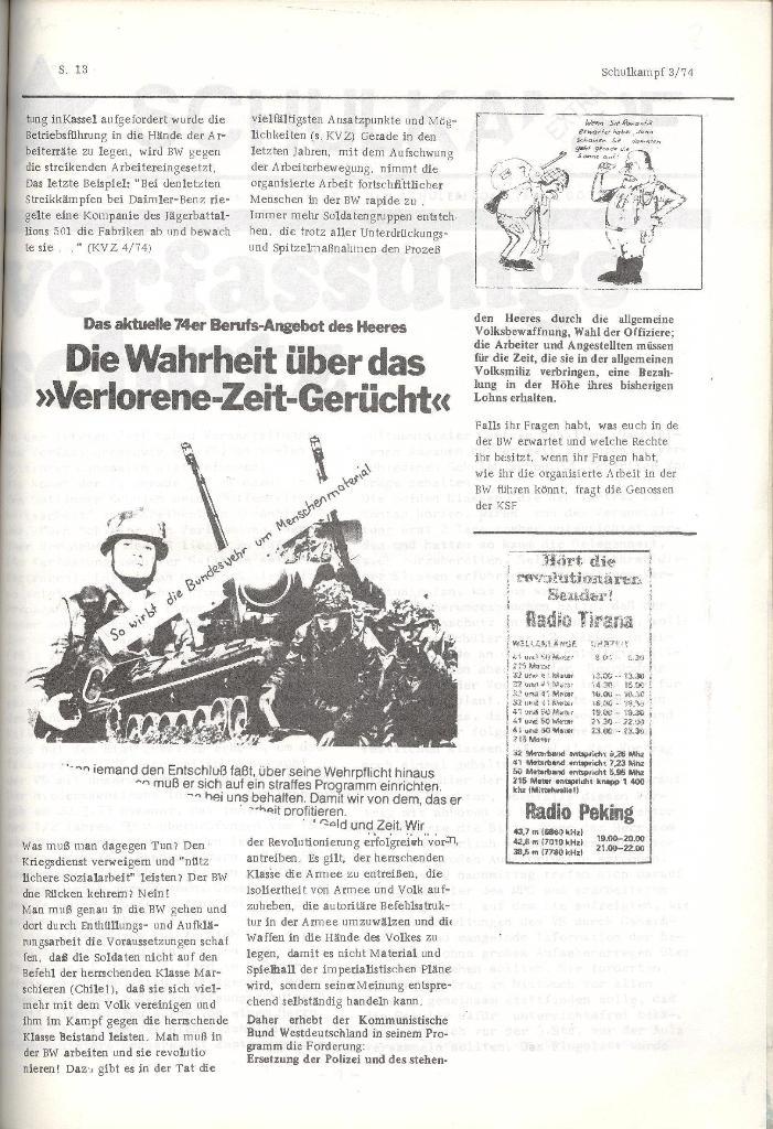 Schulkampf _ Organ der KSF, Göttingen, Nr. 3, 28.2.74, Seite 13
