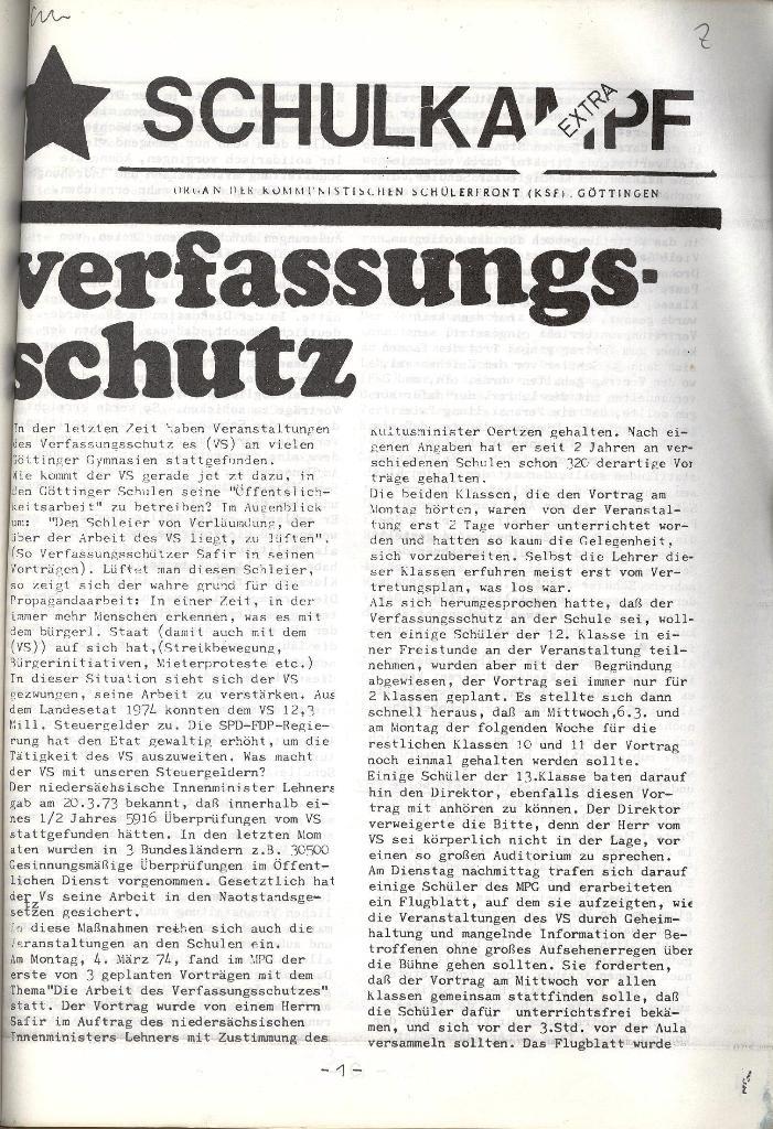 Schulkampf _ Organ der KSF, Göttingen, Extra, 11.3.74, Seite 1