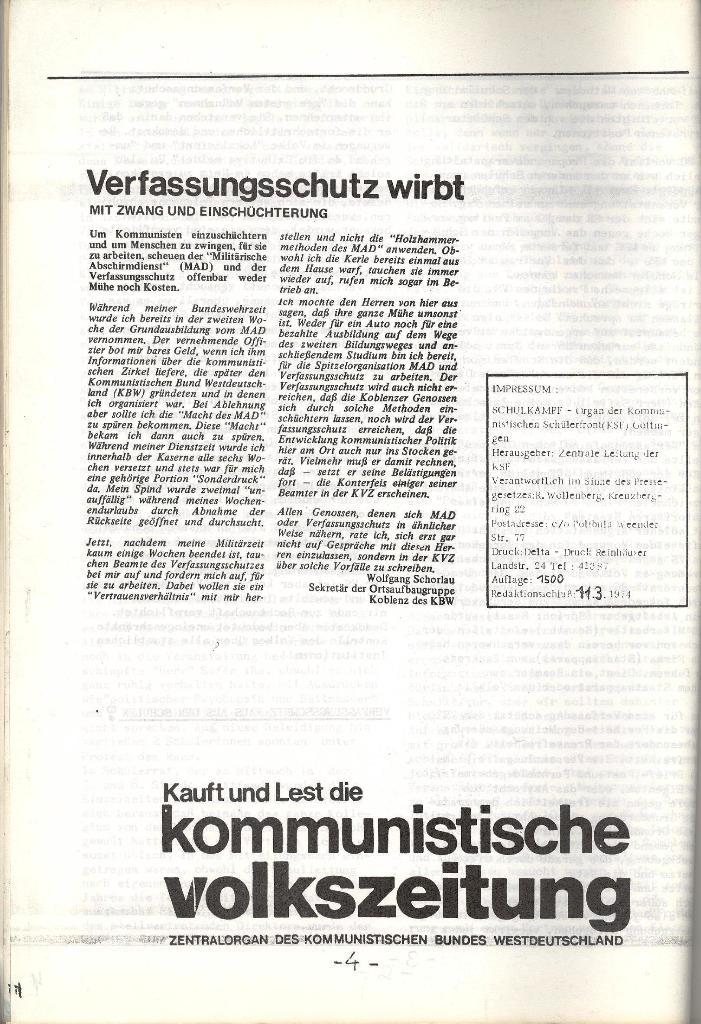 Schulkampf _ Organ der KSF, Göttingen, Extra, 11.3.74, Seite 4