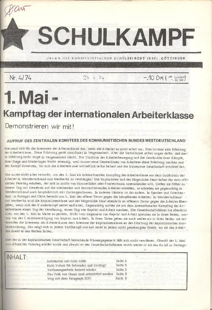 Schulkampf _ Organ der KSF, Göttingen, Nr. 4, 24.4.74, Seite 1