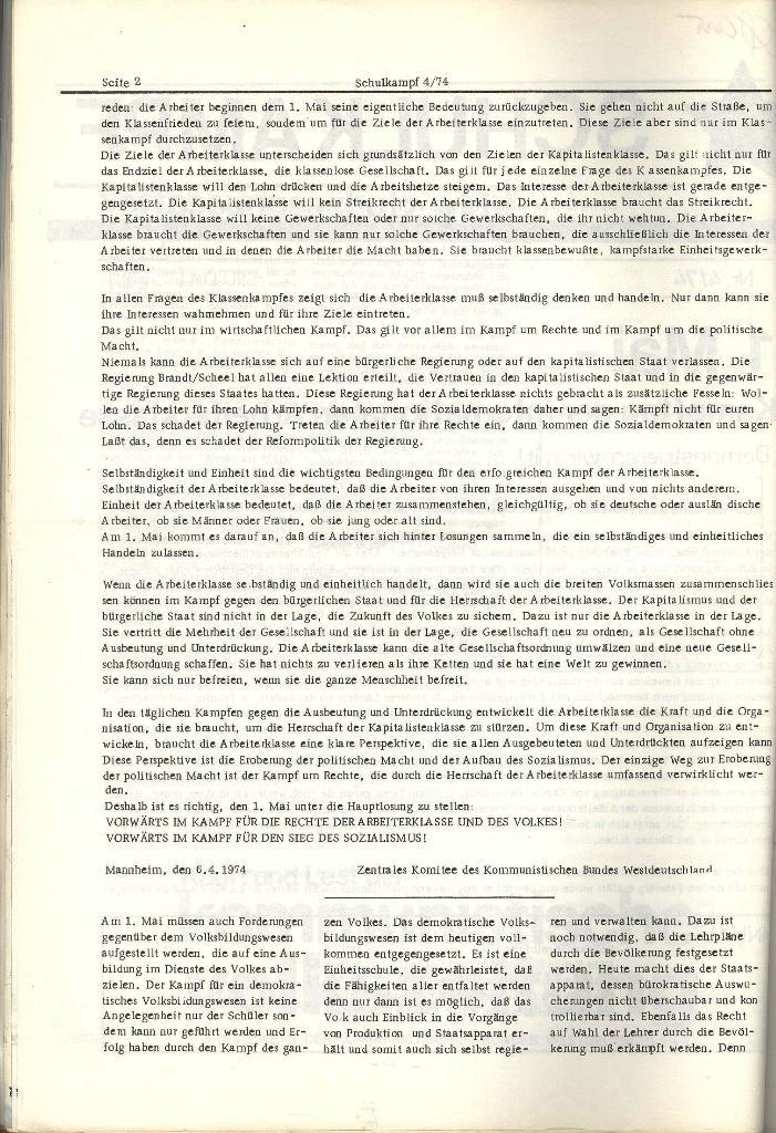 Schulkampf _ Organ der KSF, Göttingen, Nr. 4, 24.4.74, Seite 2