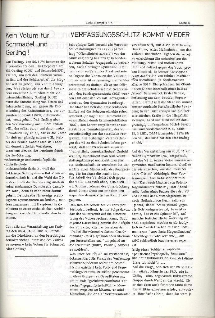 Schulkampf _ Organ der KSF, Göttingen, Nr. 4, 24.4.74, Seite 5