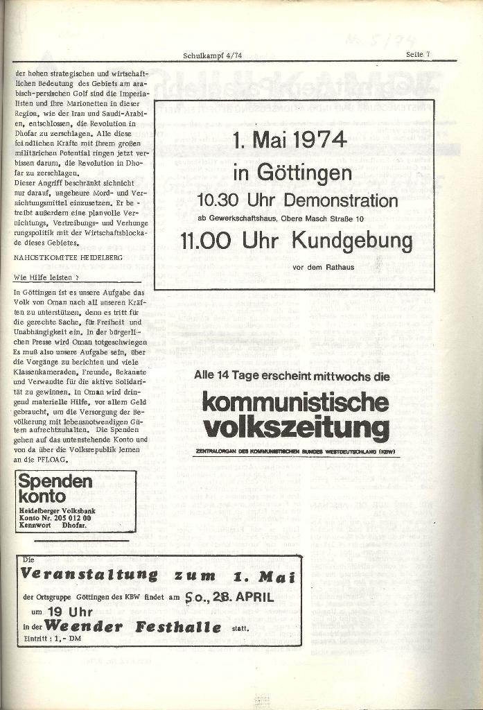 Schulkampf _ Organ der KSF, Göttingen, Nr. 4, 24.4.74, Seite 7