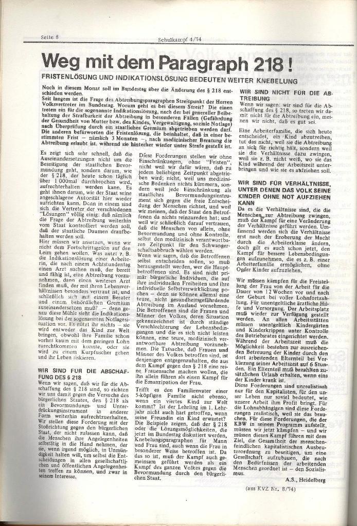 Schulkampf _ Organ der KSF, Göttingen, Nr. 4, 24.4.74, Seite 8