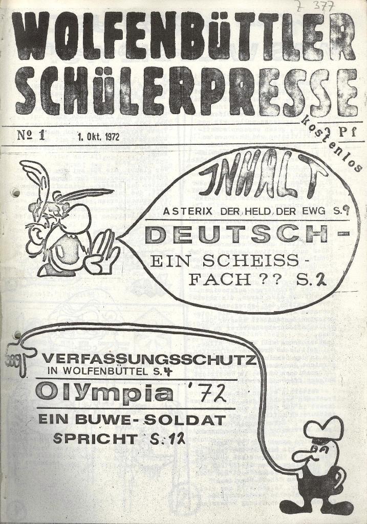 Wolfenbüttler Schülerpresse, Nr. 1, 1.10.1972, Titelseite