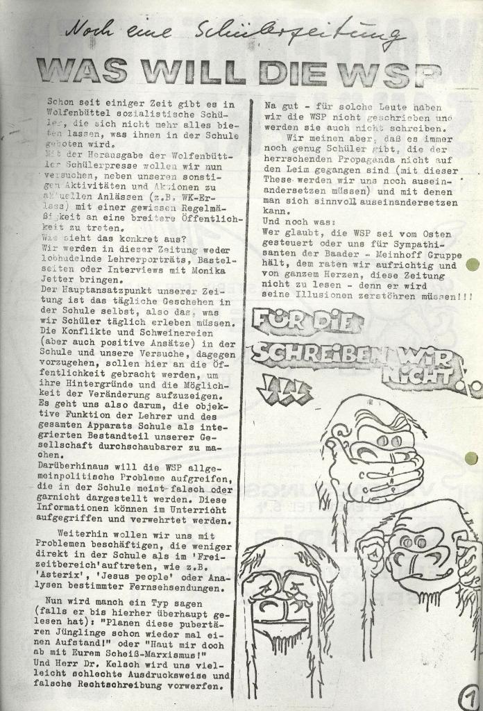 Wolfenbüttler Schülerpresse, Nr. 1, 1.10.1972, Seite 1