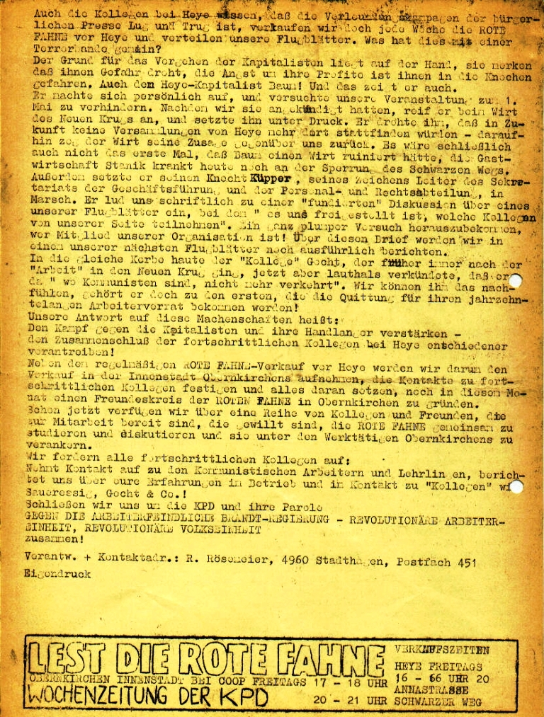 """Flugblatt der Kommunistischen Arbeiter und Lehrlinge Schaumburg/Minden (KAL) für die Kollegen bei Heye_Glas: """"Das ist das wahre Gesicht der Brandtregierung _ Soziale Phrasen und Demonstrationsverbot für Kommunisten am 1. Mai!"""", Seite 2 (April 1973)"""
