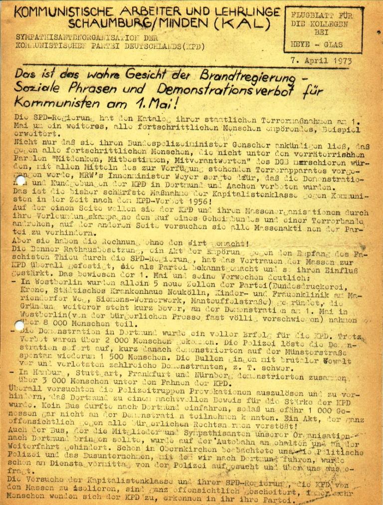 """Flugblatt der Kommunistischen Arbeiter und Lehrlinge Schaumburg/Minden (KAL) für die Kollegen bei Heye_Glas: """"Das ist das wahre Gesicht der Brandtregierung _ Soziale Phrasen und Demonstrationsverbot für Kommunisten am 1. Mai!"""", Seite 1 (April 1973)"""