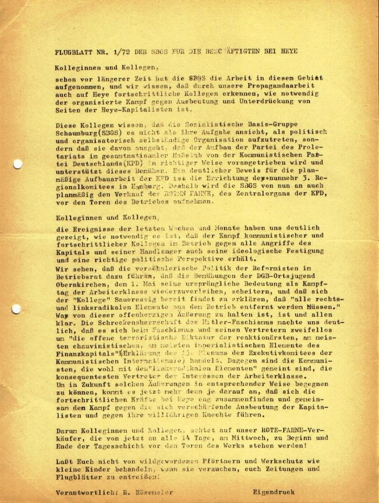 Flugblatt Nr. 1/72 der Sozialistischen Basisgruppe Schaumburg (SBGS) für die Beschäftigten bei Heye (März 1972)