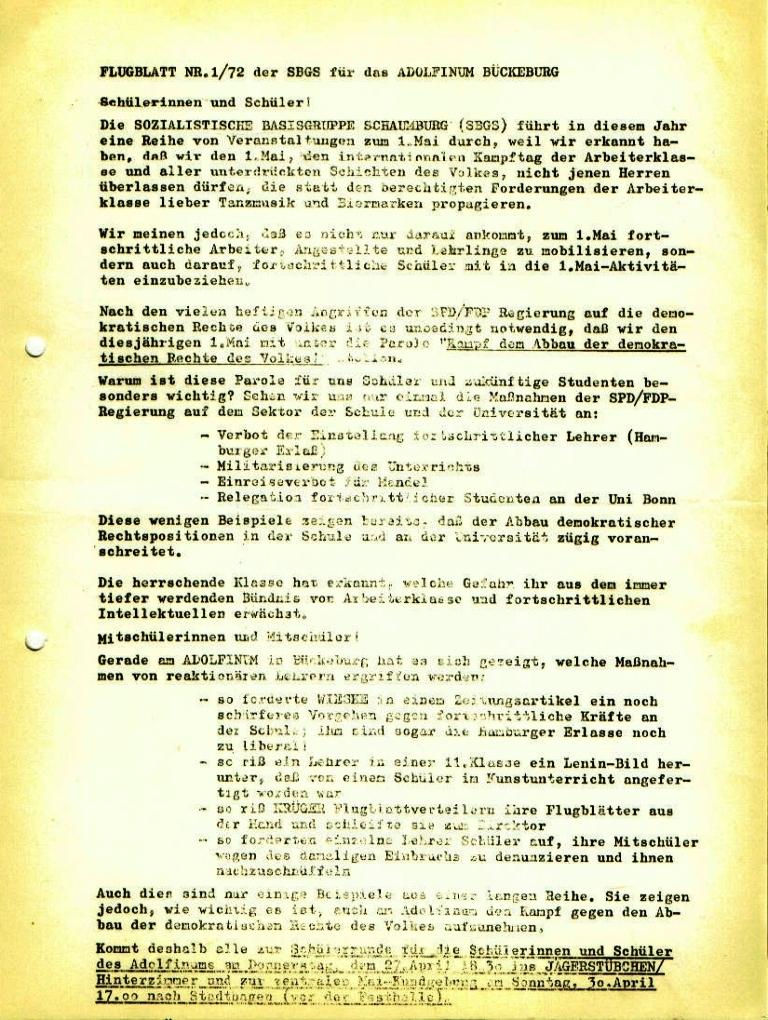 Flugblatt Nr. 1/72 der Sozialistischen Basisgruppe Schaumburg (SBGS) für das Adolfinum Bückeburg (April 1972)