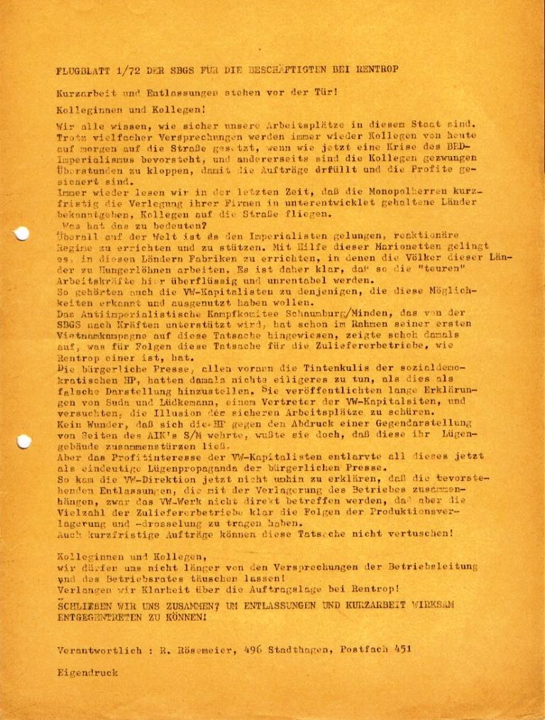 Flugblatt Nr. 1/72 der Sozialistischen Basisgruppe Schaumburg (SBGS) für die Beschäftigten bei Rentrop (Juli 1972)
