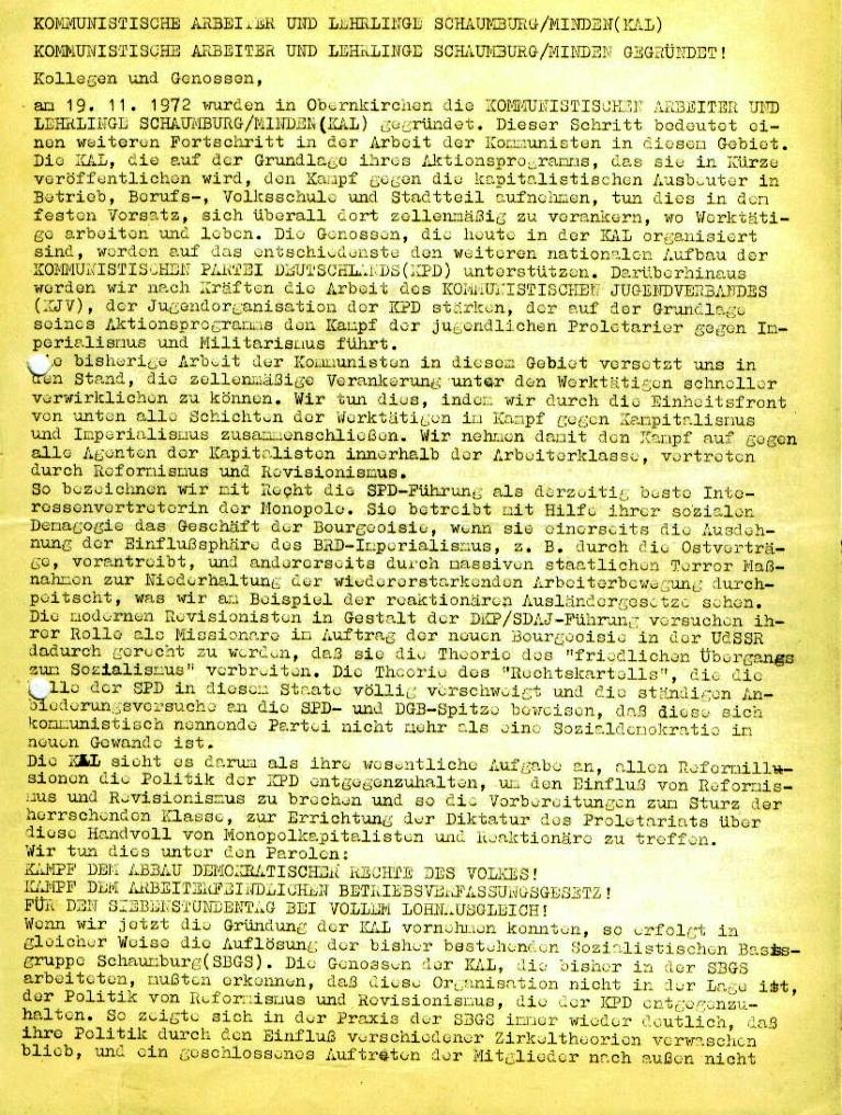 Flugblatt der Kommunistischen Arbeiter und Lehrlinge Schaumburg/Minden (KAL) zu ihrer Gründung, Seite 1 (November 1972)