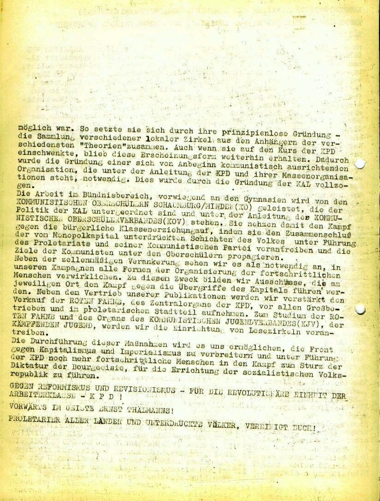 Flugblatt der Kommunistischen Arbeiter und Lehrlinge Schaumburg/Minden (KAL) zu ihrer Gründung, Seite 2 (November 1972)