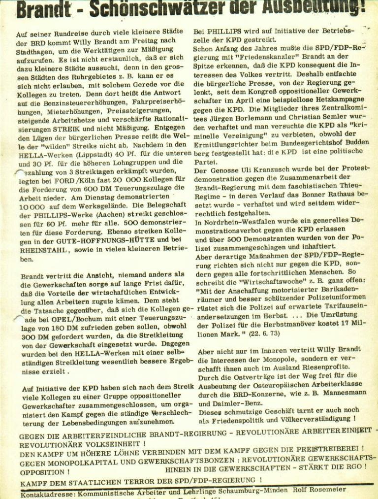 """Flugblatt der Kommunistischen Arbeiter und Lehrlinge Schaumburg/Minden (KAL): """"Brandt _ Schönschwätzer der Ausbeutung!"""" (Juli 1973)"""