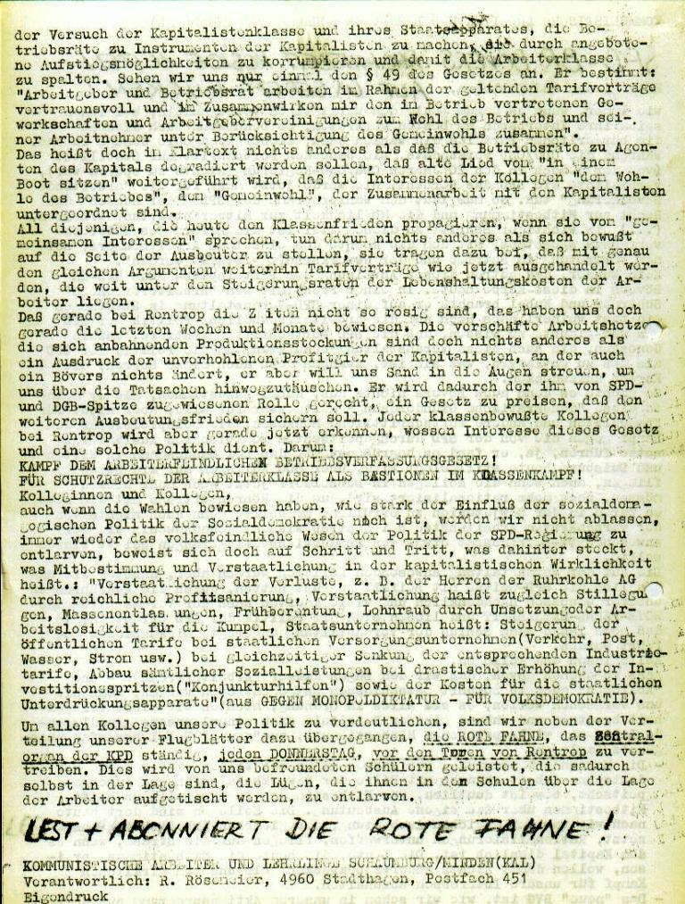 """Flugblatt der Kommunistischen Arbeiter und Lehrlinge Schaumburg/Minden (KAL) für die Beschäftigten bei Rentrop: """"SPD_BR Bövers prophezeit rosige Zeiten auf unserem Rücken!"""", Seite 2 (August 1973)"""