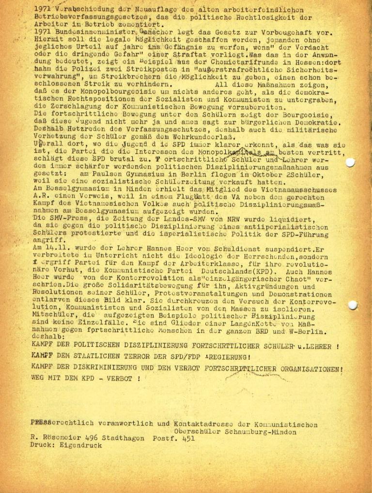 """Flugblatt der Kommunistischen Oberschüler Schaumburg/Minden (KOS/M) für das Neue Gymnasium Stadthagen: """"Der Verfassungsschutz und die 'linksradikalen Bettnässer'"""", Seite 2 (Dezember 1972)"""