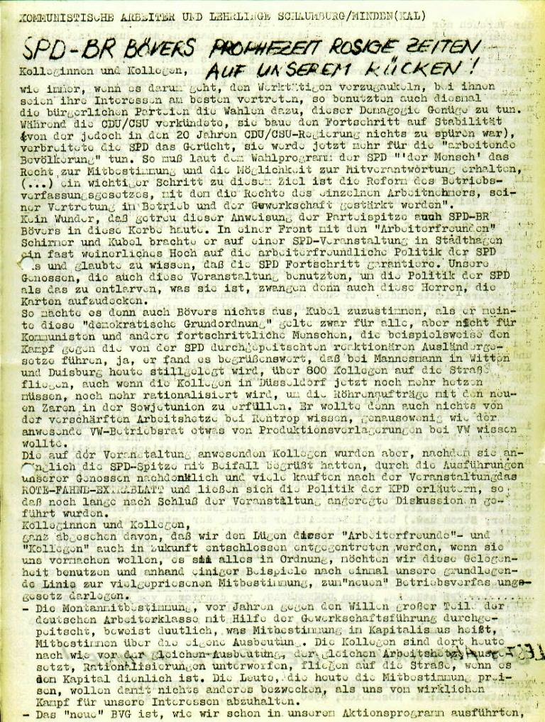 """Flugblatt der Kommunistischen Arbeiter und Lehrlinge Schaumburg/Minden (KAL) für die Beschäftigten bei Rentrop: """"SPD_BR Bövers prophezeit rosige Zeiten auf unserem Rücken!"""", Seite 1 (August 1973)"""