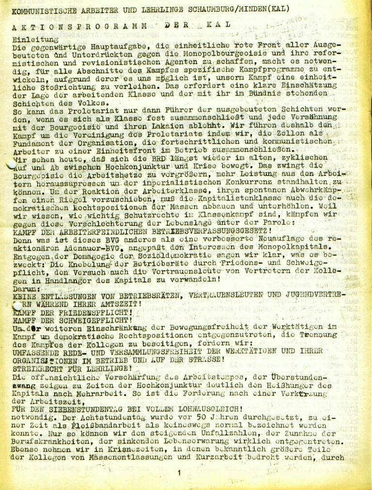 """Flugblatt der Kommunistischen Arbeiter und Lehrlinge Schaumburg/Minden (KAL): """"Aktionsprogramm der KAL"""", Seite 1 (November 1972)"""