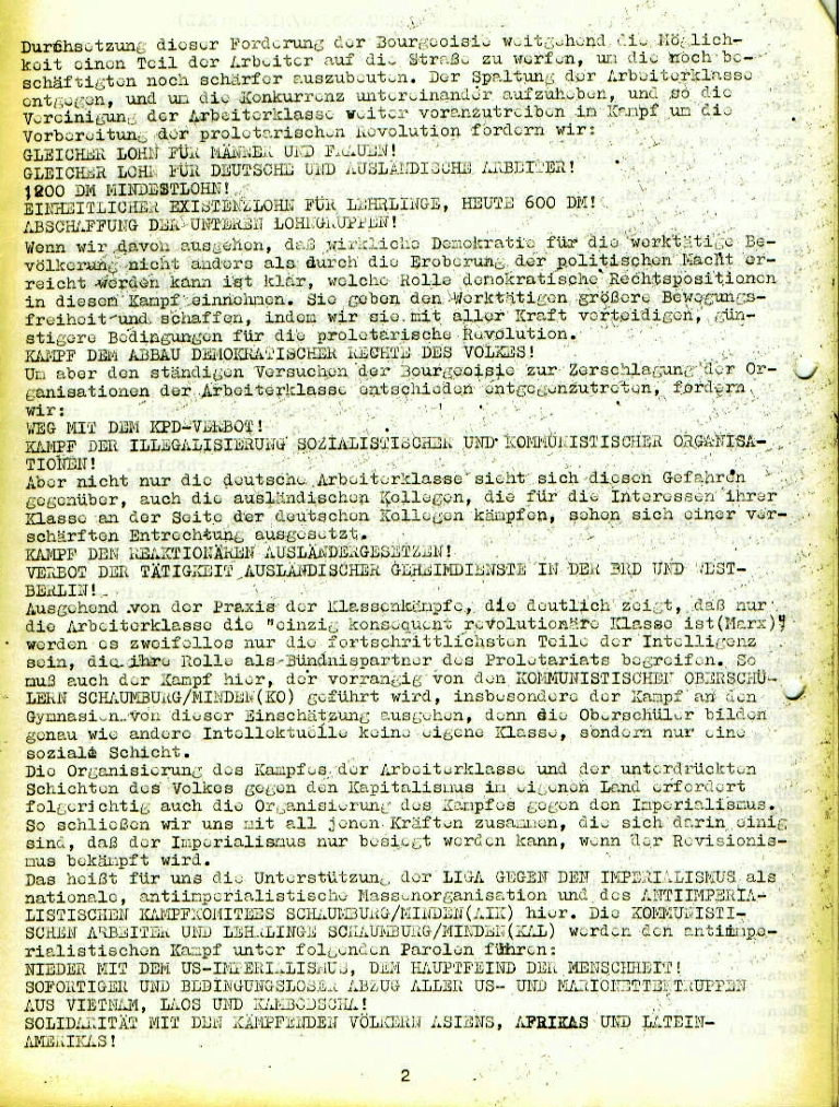 """Flugblatt der Kommunistischen Arbeiter und Lehrlinge Schaumburg/Minden (KAL): """"Aktionsprogramm der KAL"""", Seite 2 (November 1972)"""