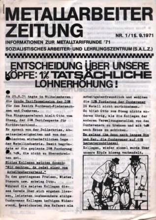 Metallarbeiterzeitung, Informationen zur Metalltarifrunde 1971, SALZ, Nr. 1, 18.9.1971