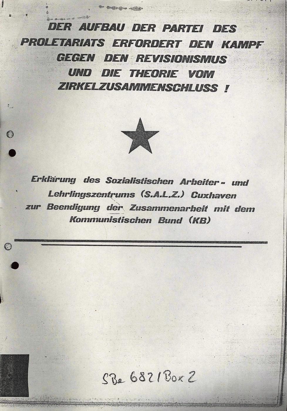 Erklärung des SALZ Cuxhaven, Juni 1972