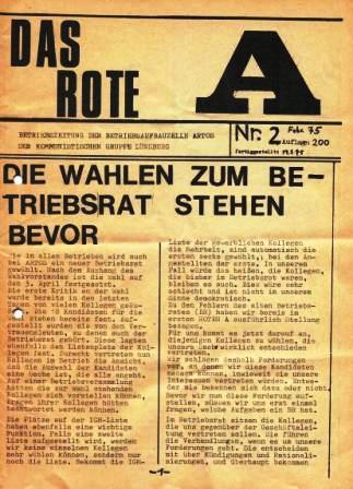 Das Rote A _ Betriebszeitung der Betriebsaufbauzelle ARTOS der Kommunistischen Gruppe Lüneburg, Nr. 2, Februar 1975