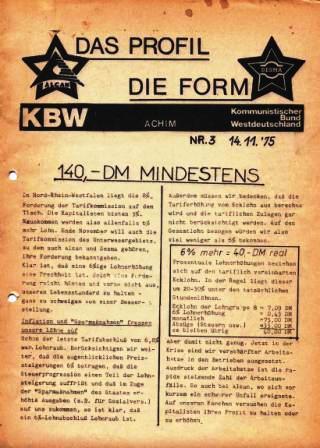 Das Profil _ Die Form, Zeitung des KBW Achim, Nr. 3, 14.11.1975
