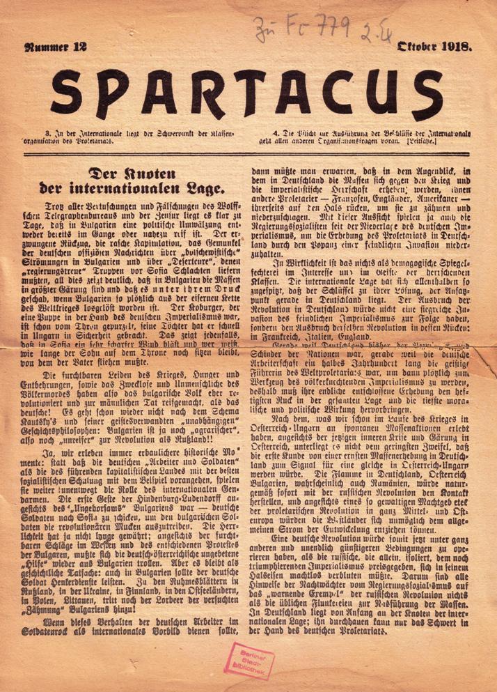 Spartacus, Nr. 12, Oktober 1918, Titelseite