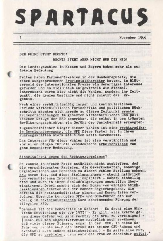 Spartacus_Brief, Nr. 1, November 1966, Seite 1