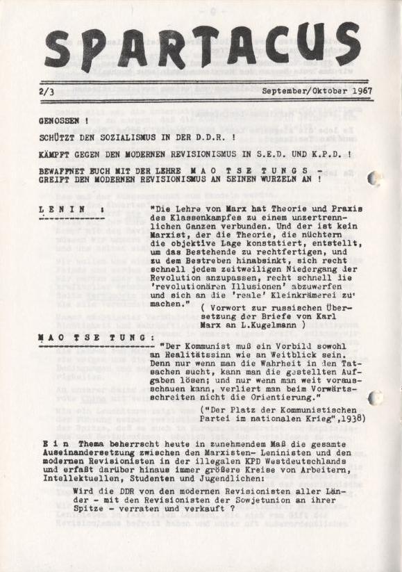 Spartacus_Brief, Nr. 2/3, Sept./Okt. 1967, Seite 1