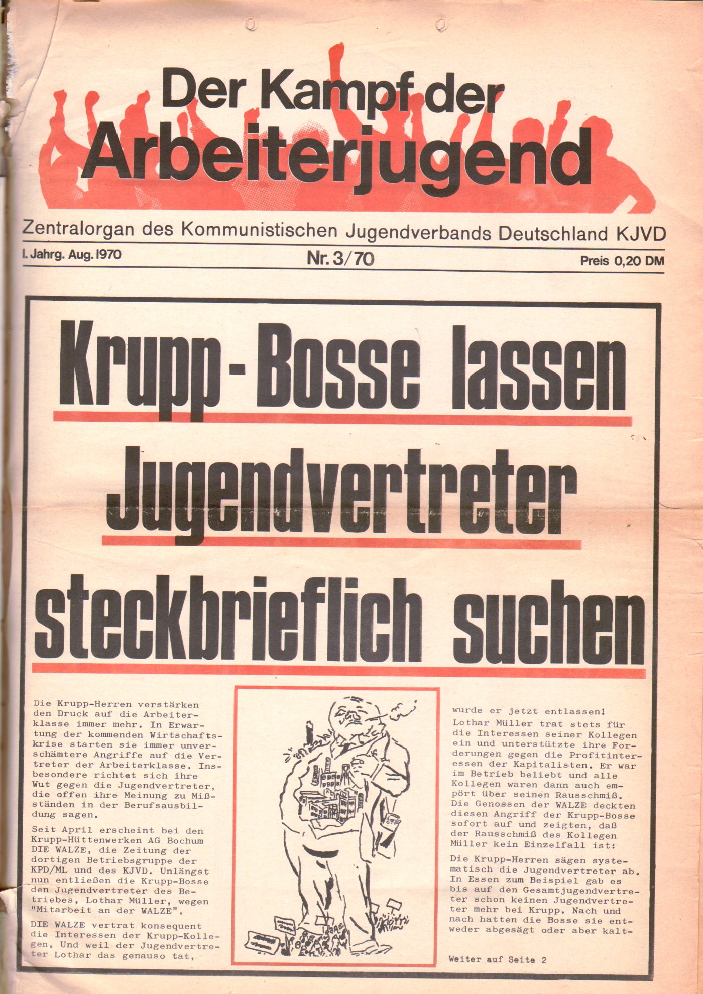 KDAJ, 1. Jg., August 1970, Nr. 3, Seite 1