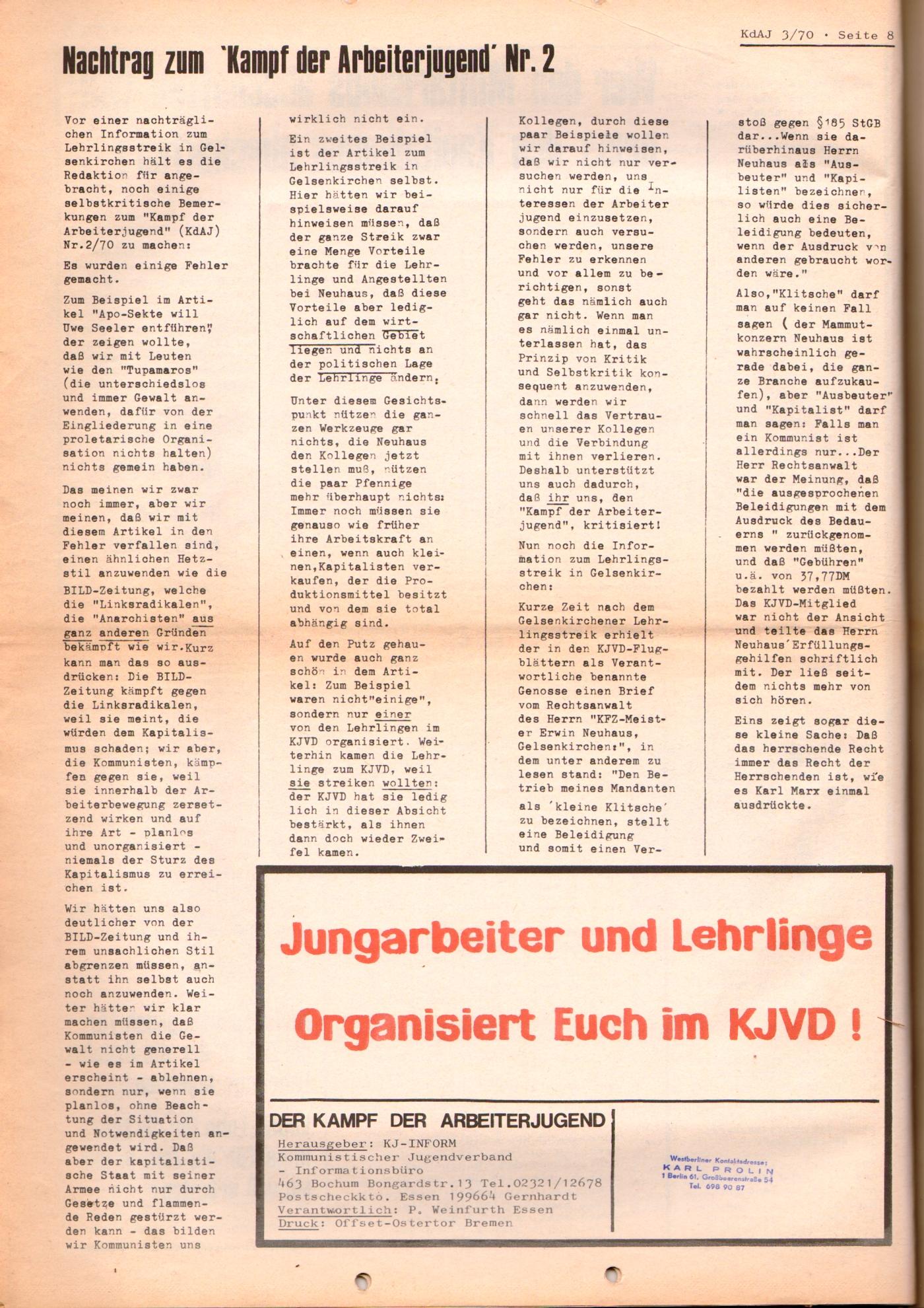 KDAJ, 1. Jg., August 1970, Nr. 3, Seite 8