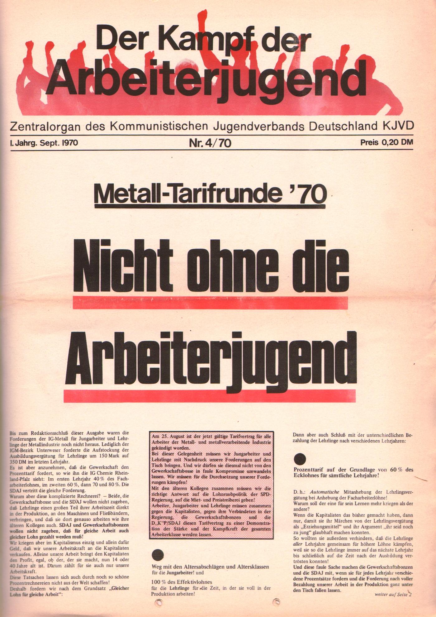 KDAJ, 1. Jg., September 1970, Nr. 4, Seite 1