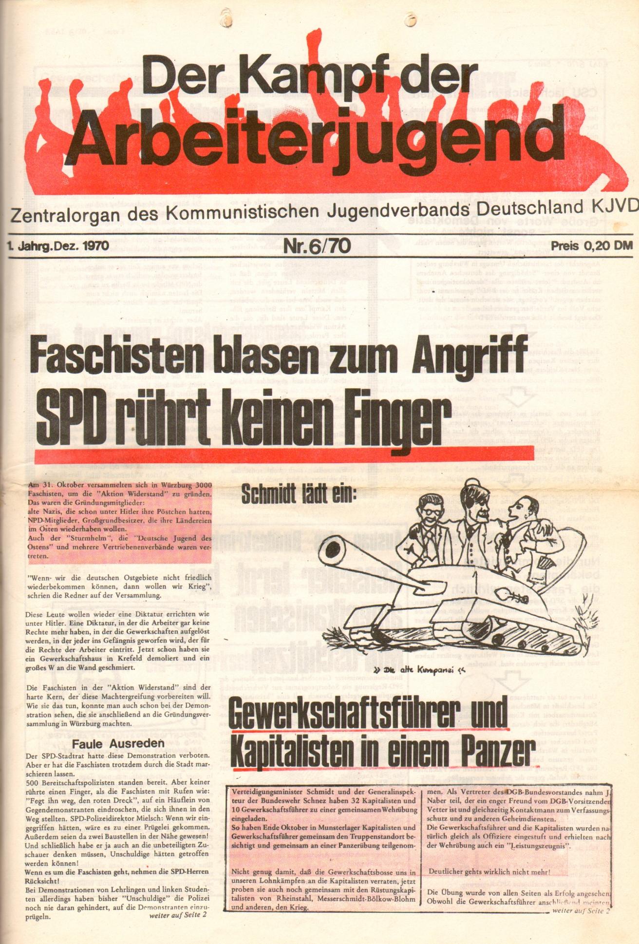 KDAJ, 1. Jg., Dezember 1970, Nr. 6, Seite 1