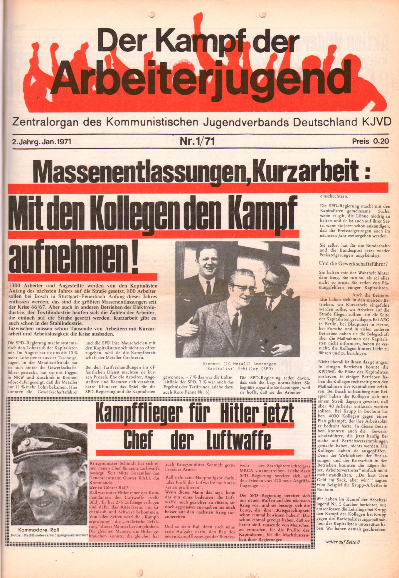 KDAJ, 2. Jg., Januar 1971, Nr. 1, Seite 1