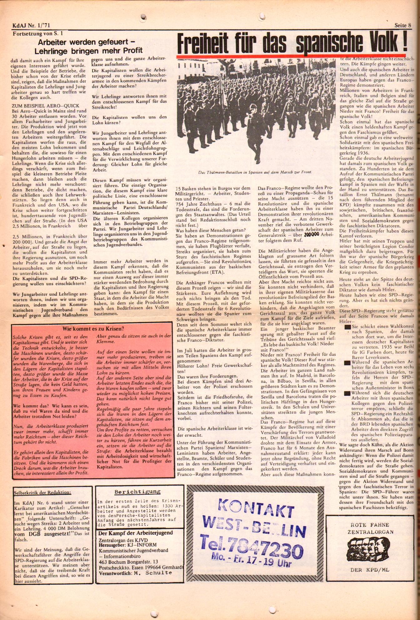 KDAJ, 2. Jg., Januar 1971, Nr. 1, Seite 8