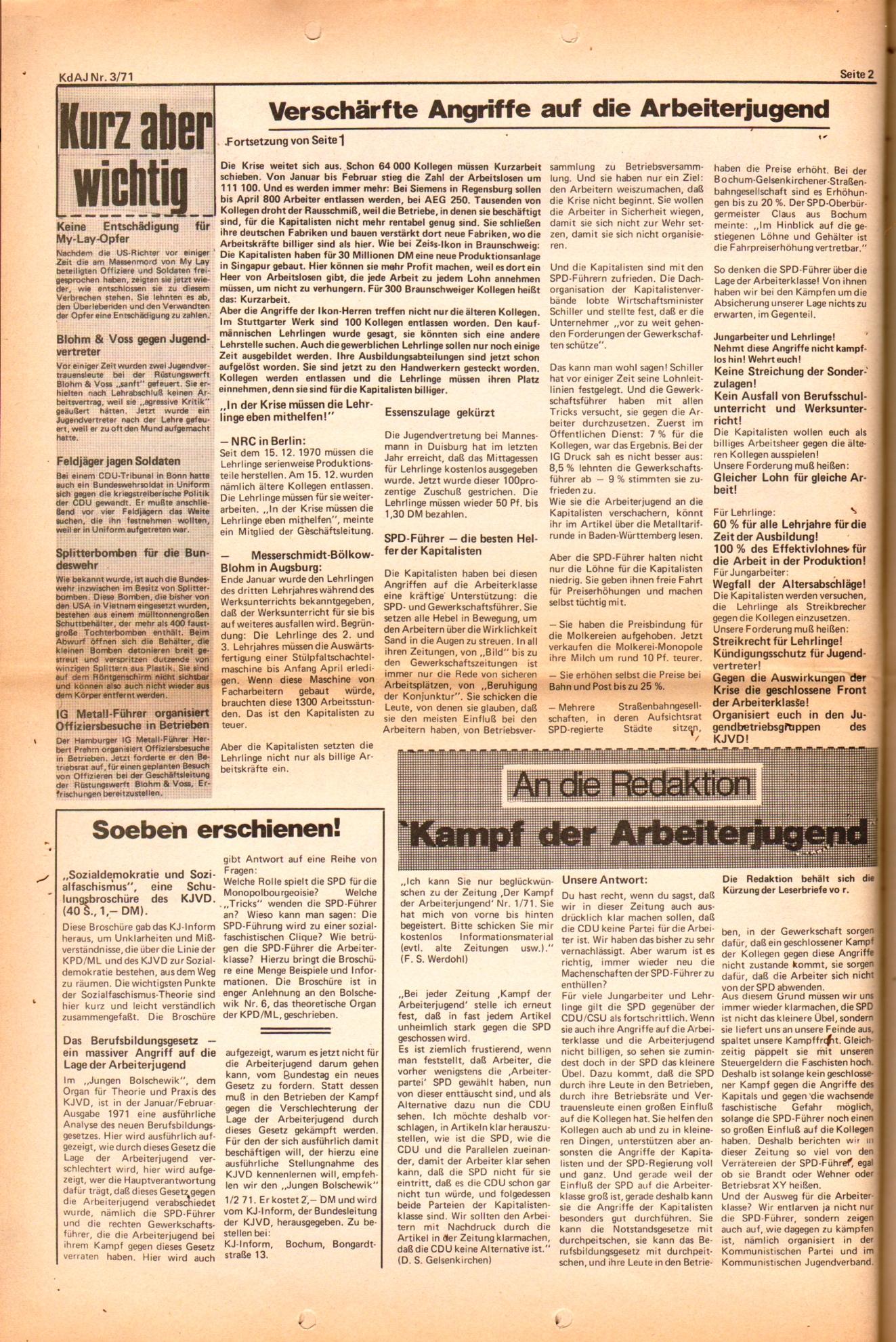 KDAJ, 2. Jg., März 1971, Nr. 3, Seite 2