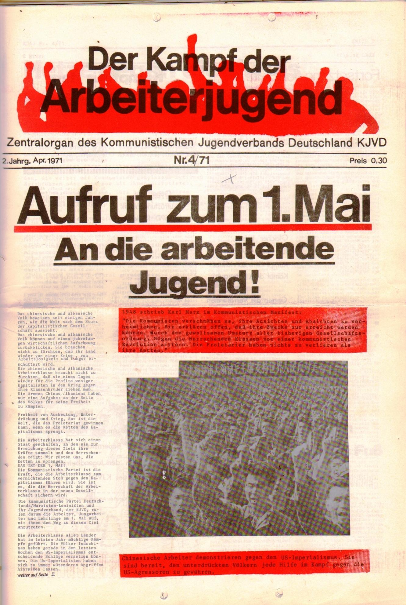KDAJ, 2. Jg., April 1971, Nr. 4, Seite 1
