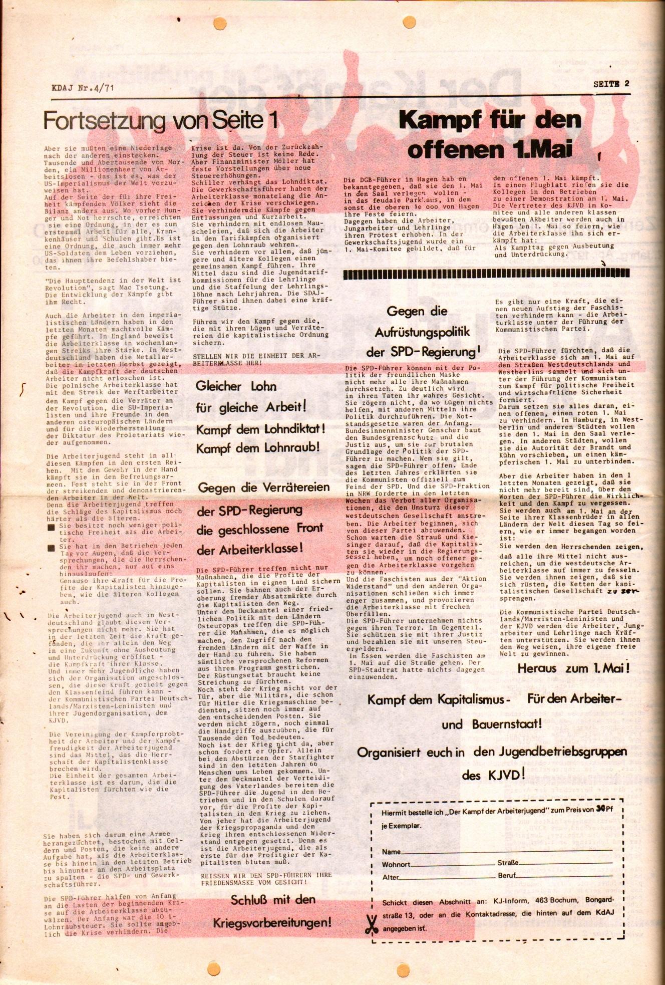 KDAJ, 2. Jg., April 1971, Nr. 4, Seite 2