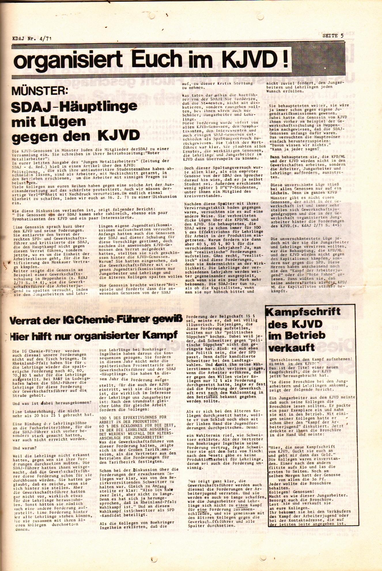 KDAJ, 2. Jg., April 1971, Nr. 4, Seite 5