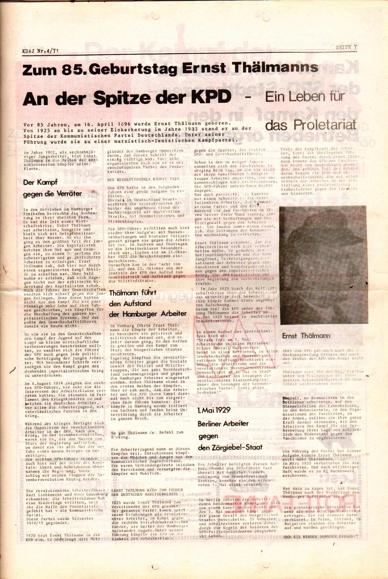 KDAJ, 2. Jg., April 1971, Nr. 4, Seite 7