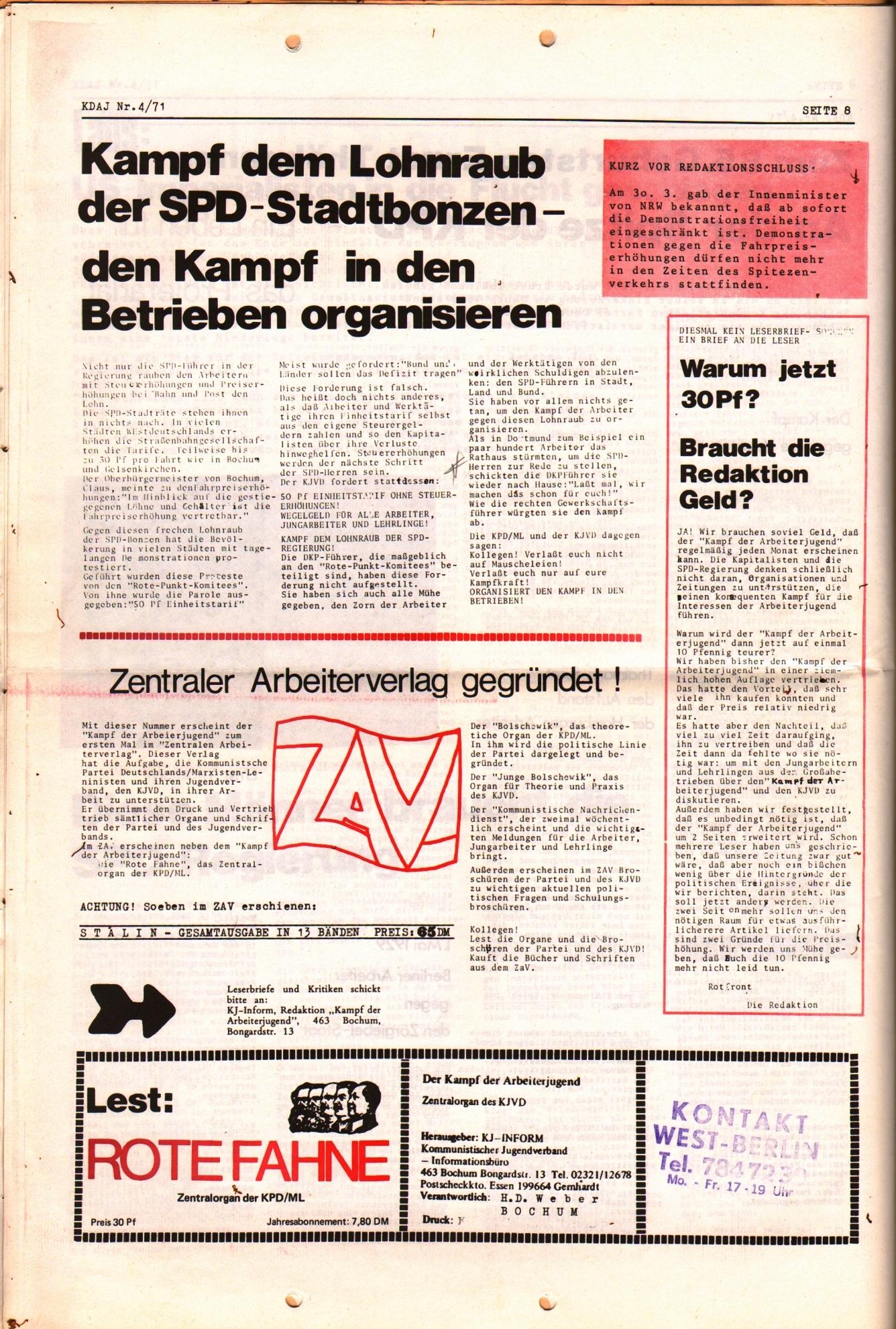KDAJ, 2. Jg., April 1971, Nr. 4, Seite 8