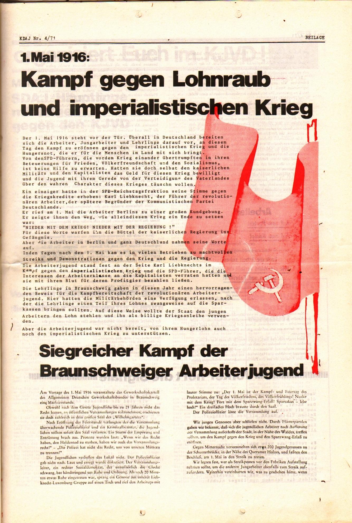 KDAJ, 2. Jg., April 1971, Nr. 4, Beilage, Seite 1