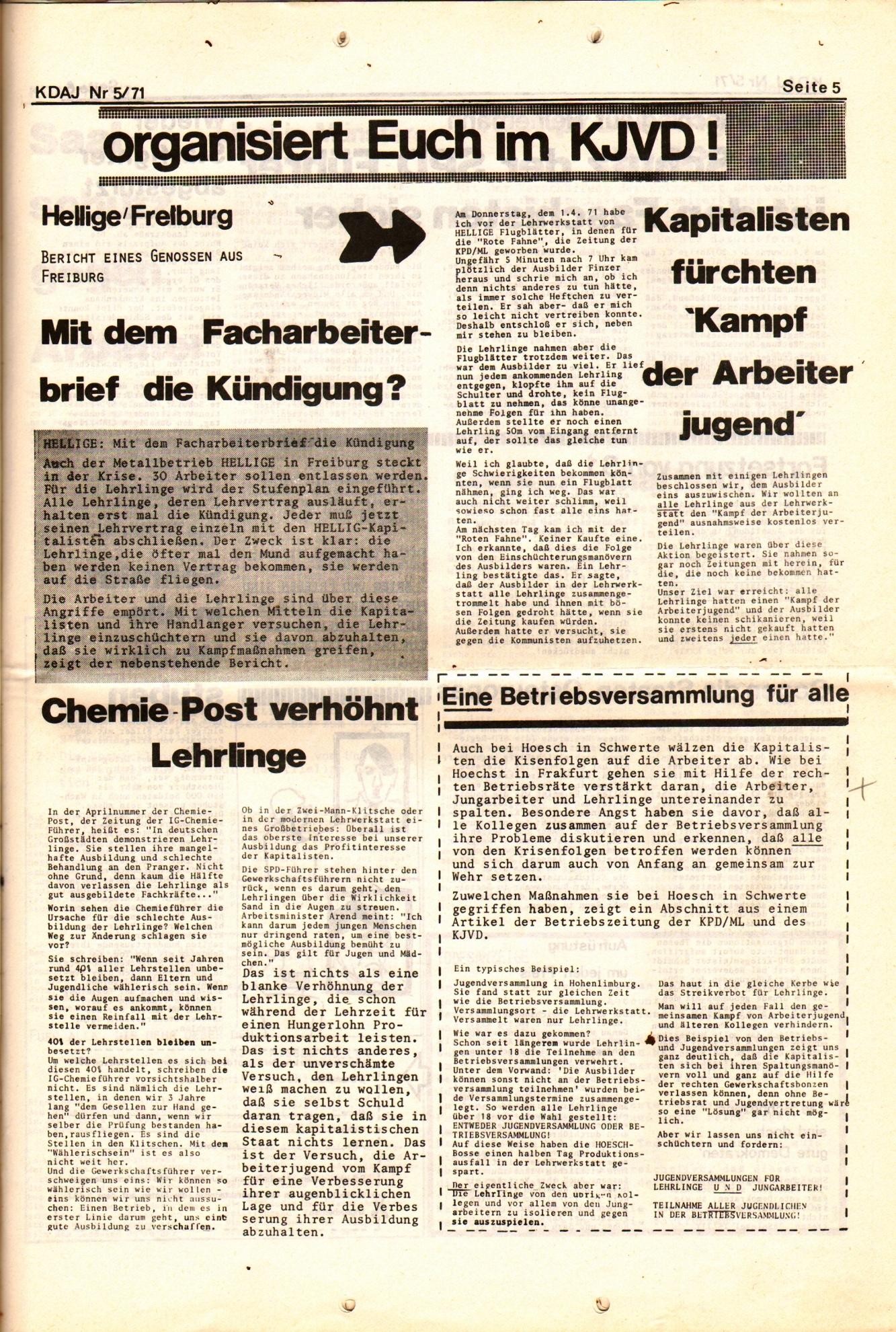 KDAJ, 2. Jg., Mai 1971, Nr. 5, Seite 5