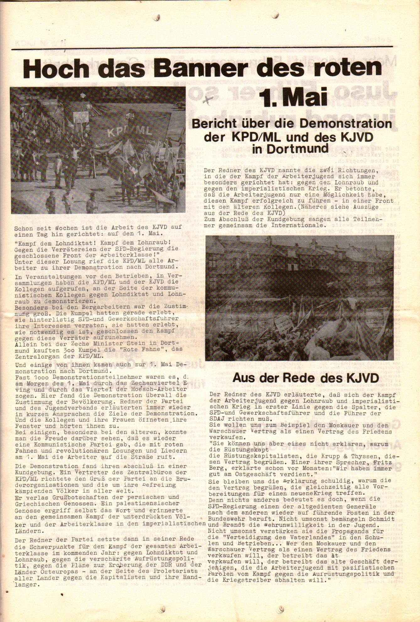 KDAJ, 2. Jg., Mai 1971, Nr. 5, Beilage, Seite 1
