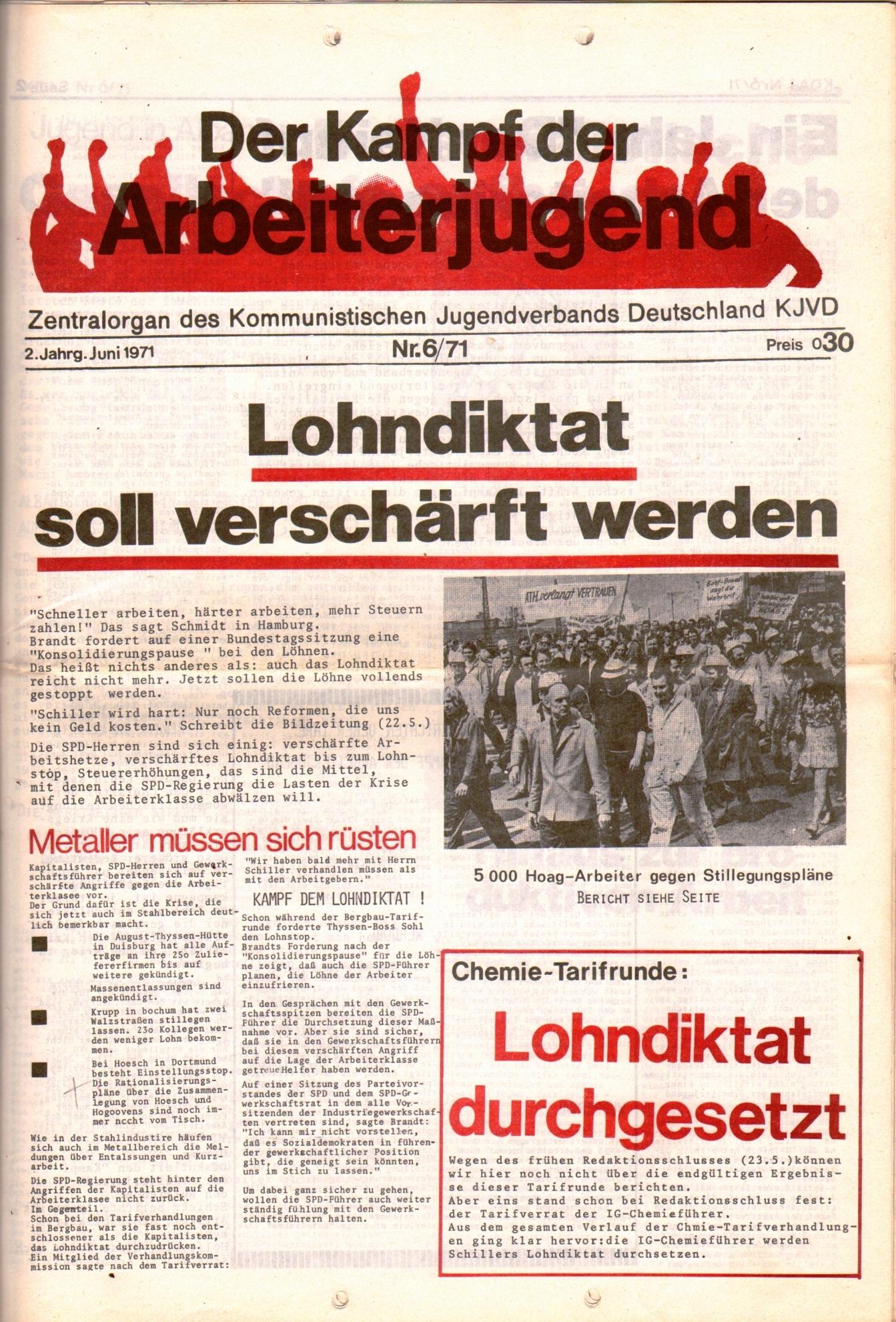 KDAJ, 2. Jg., Juni 1971, Nr. 6, Seite 1